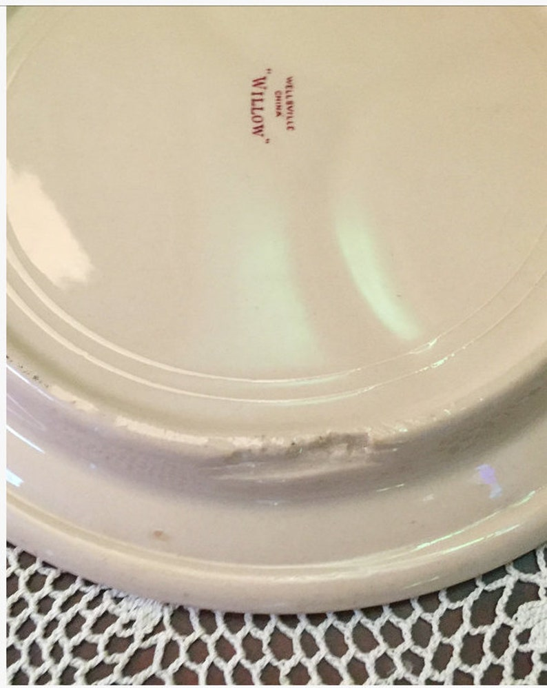 Vintage Restaurantware Set of 6 Vintage Willow Red Wellsville China Divided Grillplates