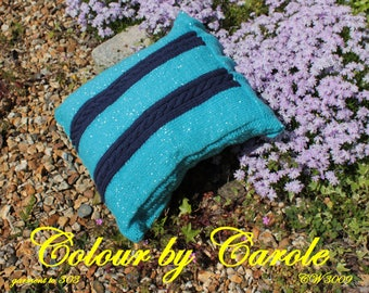 Hand knitted cabled cushion cover in blue