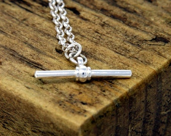 3da707e15 Sterling Silver Chunky T Bar Necklace, T Bar Pendant, Silver Pendant, T-Bar  Necklace, T Bar Jewellery, Chunky Belcher, Birthday, Bridesmaid