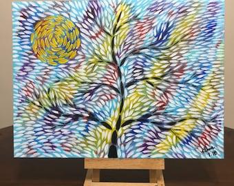 Acrylic tree and sun painting