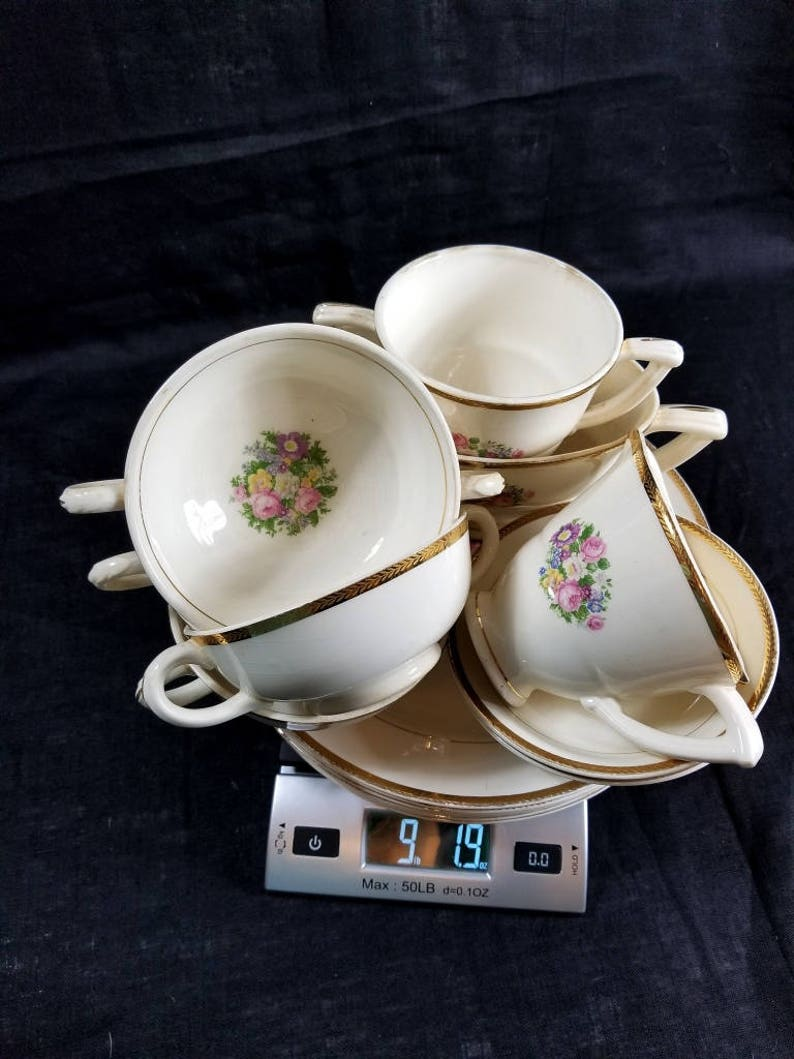 15 Piece Antique French Saxon China Co. Sebring Ohio Depression Era 22K Gold Banding Vintage 1930\u2019s Rare Collectible