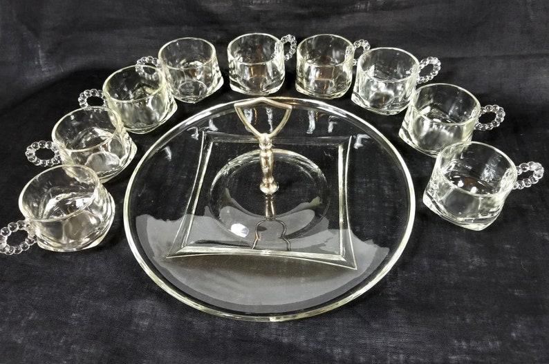 Hostess Service, Glass Platter Center Handle, Matching Punch Cups, Crystal  Entertaining Set, Clear Glass Set