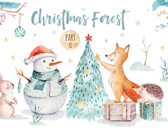 cute cartoon watercolor christmas clipart merry christmas clip art new year winter watercolor 2019 holly jolly baby deer digital card
