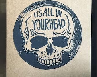 In your head, Skull, Postcard