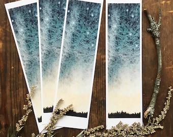 Winter skies, Bookmark, Watercolor print