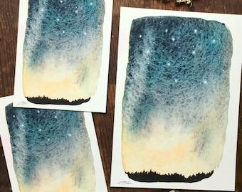 Winter skies, Watercolor print