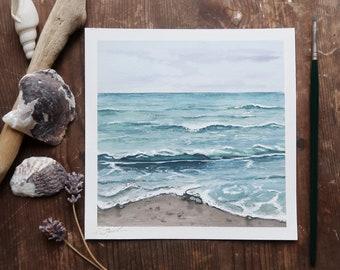 Sea, gouache, Art print.