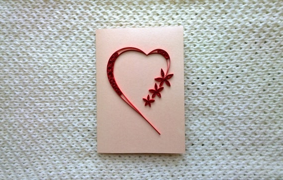 Valentine Quilling Heart Card Greeting Card Love You Etsy