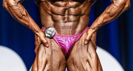 Red hologram lycra Bodybuilding posing trunks.