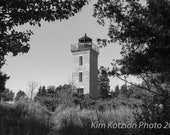 Peninsula Point lighthouse photo. Lake Michigan landscape. Black & white fine art print. Home, beach decor. Great lakes. Free shipping.