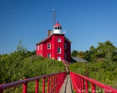 Marquette Harbor lighthouse photo. Michigan landscape picture. Fine art print. Great Lakes scene. Home, cottage, beach decor. Free shipping.