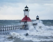 Michigan lighthouse with waves print. St. Joseph beacon in a storm. Nature and landscape photo. Fine art, home decor. Great Lakes scene.