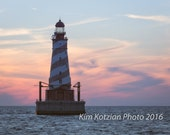 White Shoal Lighthouse at sunset. Dramatic Lake Michigan landscape print. Fine art photo. Home, beach, cottage decor.