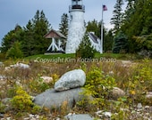 Old Presque Isle Lighthouse photo. Michigan landscape picture, Lake Huron. Fine art print. Home decor or gift.