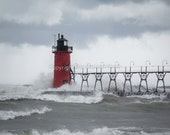 South Haven lighthouse in a storm. Michigan landscape, nature photo. Great Lakes scenery.  Dramatic wind and waves. Fine art print.