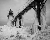 St. Joseph Lighthouse in black & white. Michigan winter landscape photo--ice and snow.  Fine art print picture. Home decor. Great Lakes.