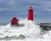 Three Lake Michigan lighthouse storm, wave photos. Matted fine art prints. Landscape and nature. Home, cottage decor. Free shipping.