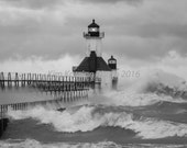St. Joseph Lighthouse in a storm. Lake Michigan landscape nature print. Black and white fine art photo. Home decor. Great Lakes scene.