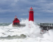Grand Haven Lighthouse with waves photo. Michigan landscape fine art print. Nature, storm picture. Home, beach, cottage decor. Free Shipping