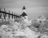 Lake Michigan Lighthouse Photo. St. Joseph in winter. Black and white fine art print. Great lakes landscape. Home decor. Free shipping.