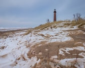 Little Sable lighthouse in winter photo. Michigan landscape & nature print. Fine art home, cottage decor. Great Lakes scene. Free shipping.