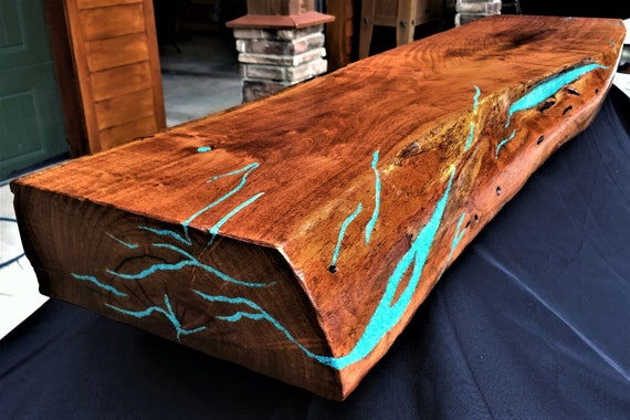 Mesquite Live Edge Fireplace Mantel Turquoise Inlay Etsy