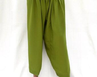 Green Indian harem pants, harem pants unisex, green pants, ethnic pants, wide-leg pants, Indian Crafts