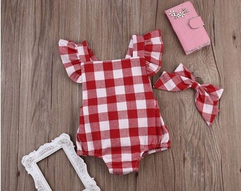 Baby Girl Red Gingham Bow Monogrammed Bubble | Monogrammed Ruffles Romper Sunsuit and Headband | Monogrammed Baby Gift