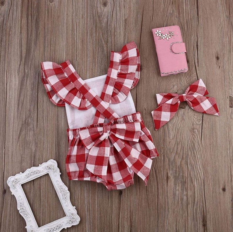 75bedb65161 Baby Girl Red Gingham Bow Monogrammed Bubble Monogrammed