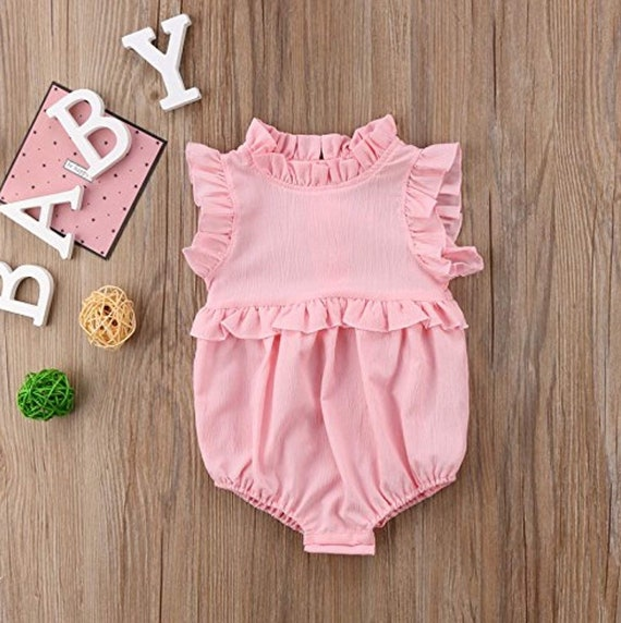 383eff5e9 Baby Girl Pink Monogrammed Bubble Monogrammed Ruffles Romper