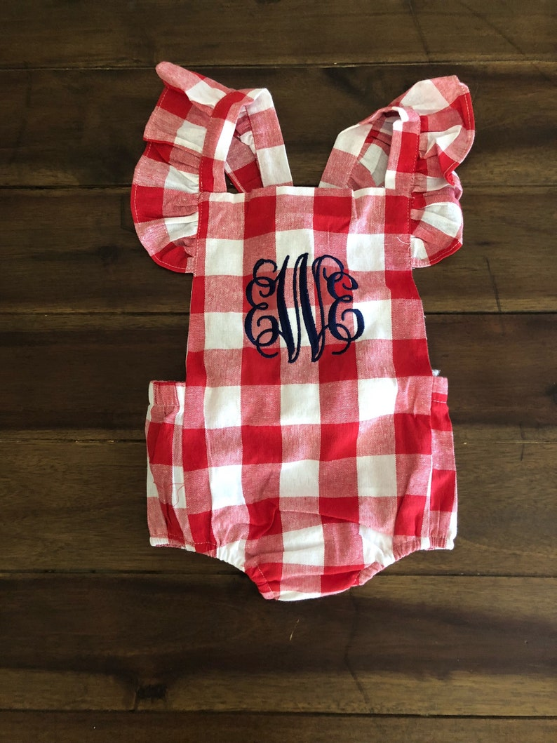 c70130f49 Baby Girl Red Gingham Bow Monogrammed Bubble Monogrammed