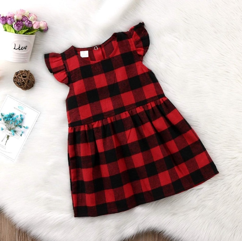 fcf701019df Baby Girl Red Buffalo Check Dress Monogrammed Red Black