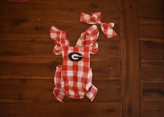 6e36c0d1fb56 Baby Girl Georgia Red Gingham Bow Monogrammed Bubble