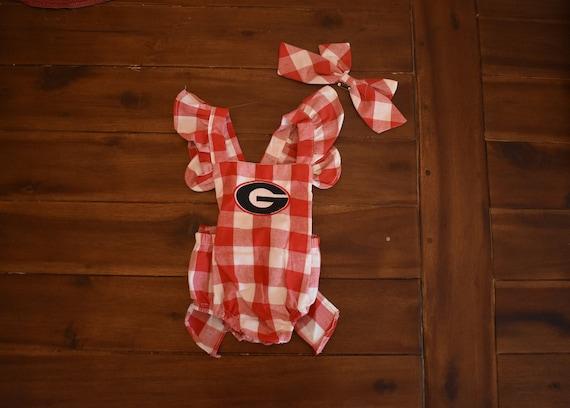 b6cf686aeab Baby Girl Georgia Red Gingham Bow Monogrammed Bubble