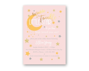 Twinkle Baby Shower Invitation - Printable Baby Shower Invitation - Digital Invitation -Digital File - Girl Baby Shower - Pink Baby Shower