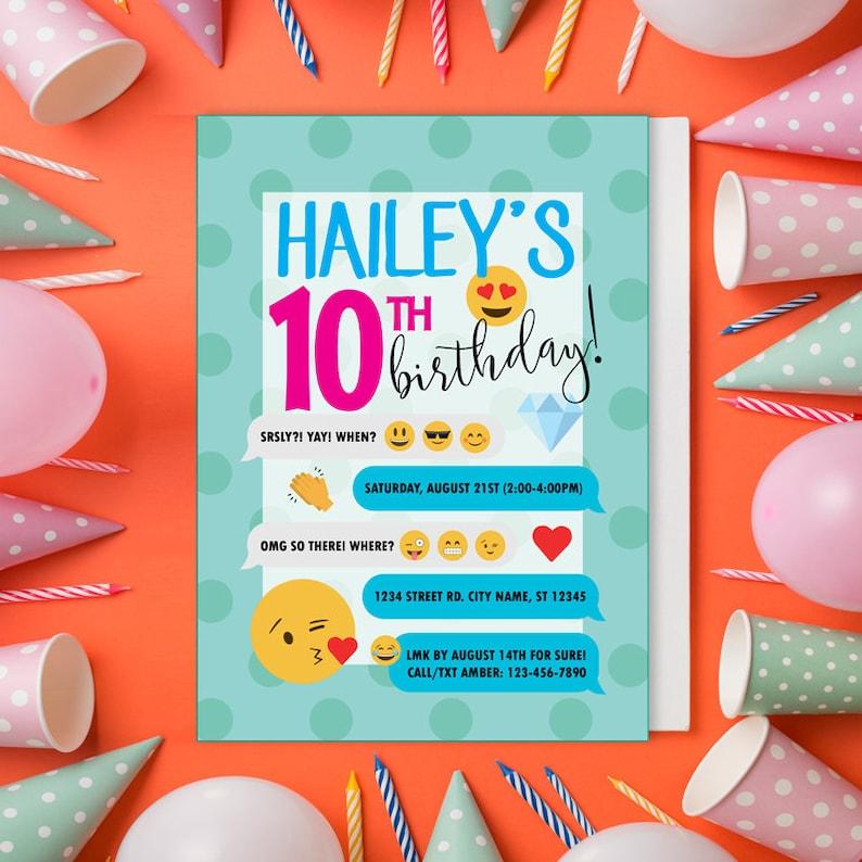 dc310b27b8f39 Emoji Birthday Emoji Party Invitations Custom Birthday