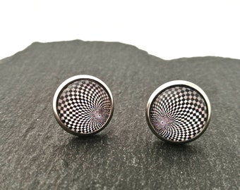 Geometric Stud Earrings, Stud Earrings, Surgical Stainless Steel, 12mm Stud Earrings, Black and White Earrings, Glass Cabochon