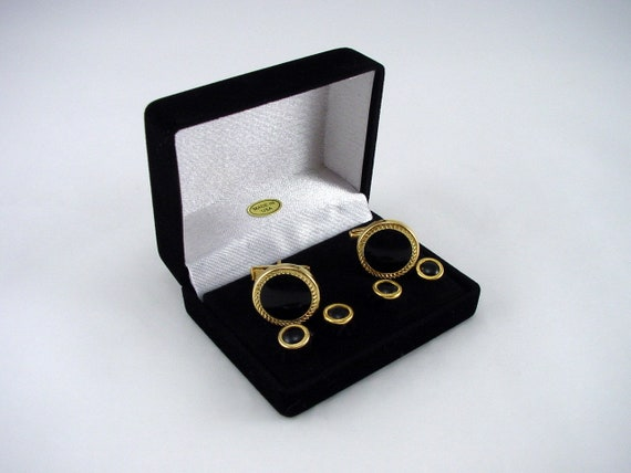 Cuff-Daddy Round Silver Black Tuxedo Cufflinks Studs with Presentation Box