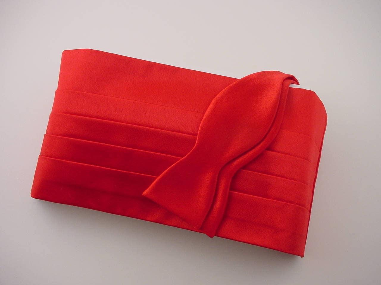 Red Tropical Tradewinds Tuxedo Cummerbund and Bow Tie