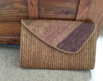 Vintage Large Woven Straw Clutch Bag Made in Italy