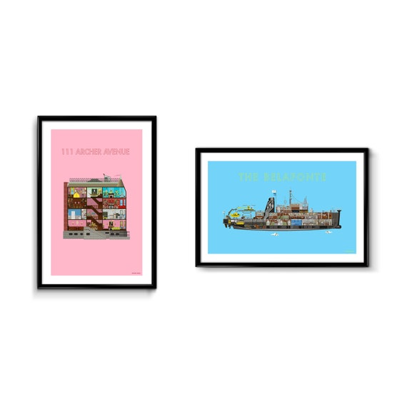 Wes Anderson Poster Pack - 111 Archer Avenue & The Belafonte