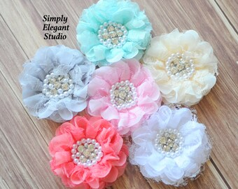 10 Assorted Lace   Chiffon Fabric Flowers with Pearls and Rhinestones 8be4eb3ed51b