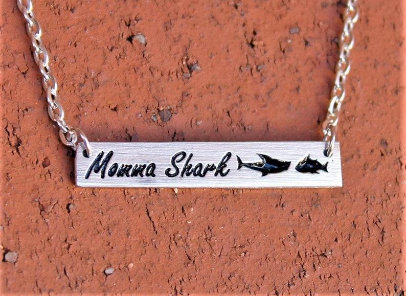 Momma shark Baby shark shark doo doo doo Trending jewelry Mothers jewelry Bar necklace Momma shark necklace Shark jewelry