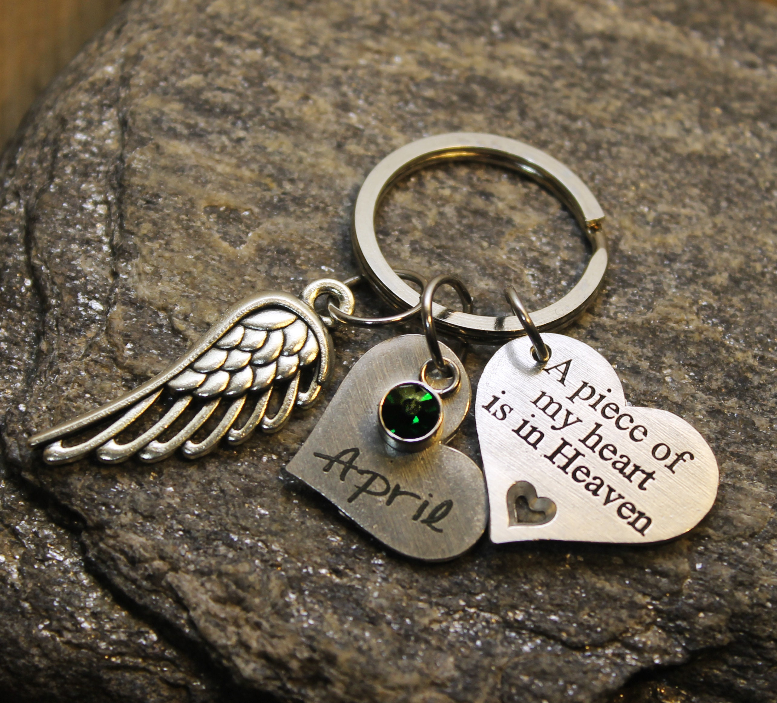 Memorial Keychain Personalized A Piece of My Heart is in Heaven Keychain