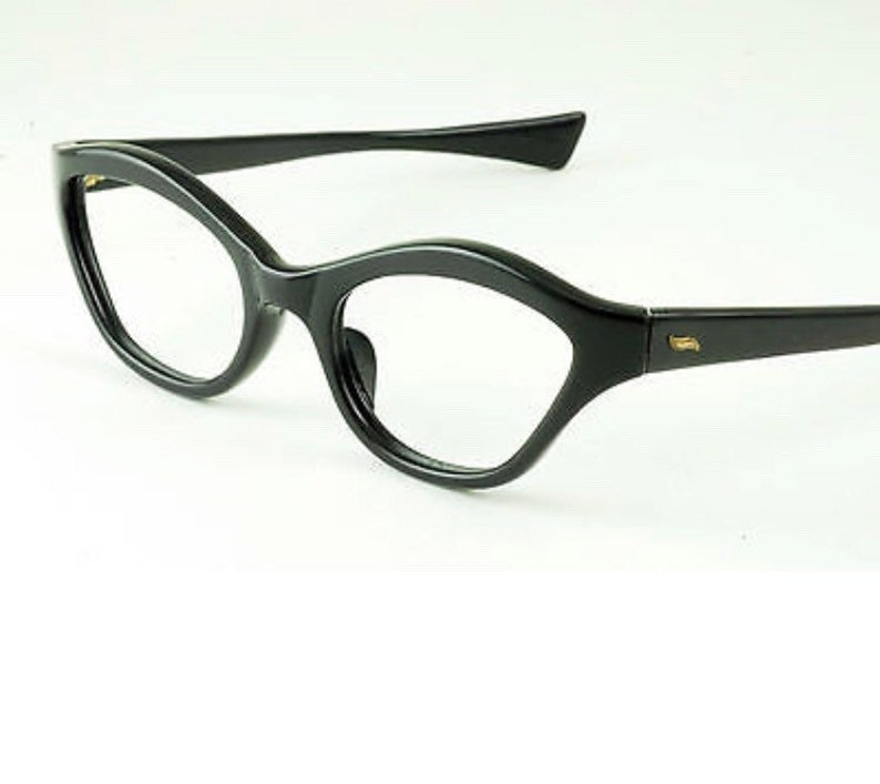 True Vintage 1960's Solid Shiny Black Eyeglass Frames Made in France. NOS
