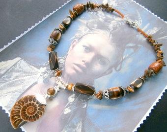 ETHNIC necklace, Bohemian pendant Ammonite for wedding or anniversary
