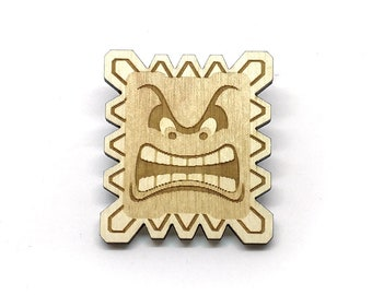 Thwomp, Laser Etched Wood Pin