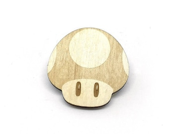 Mushroom Laser Etched Wood Pin
