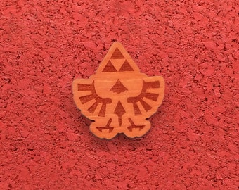 Hylian Crest, Laser Etched Wood Pin