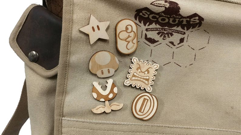 Mario Inspired Laser Etched Wood Pin image 0